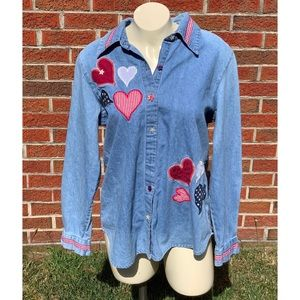 Blair Hearts Denim Button Front Top Red White Blue